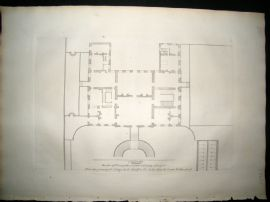 Vitruvius Britannicus C1720 Architectural Plan. Principal Floor of Stoke, Hereford